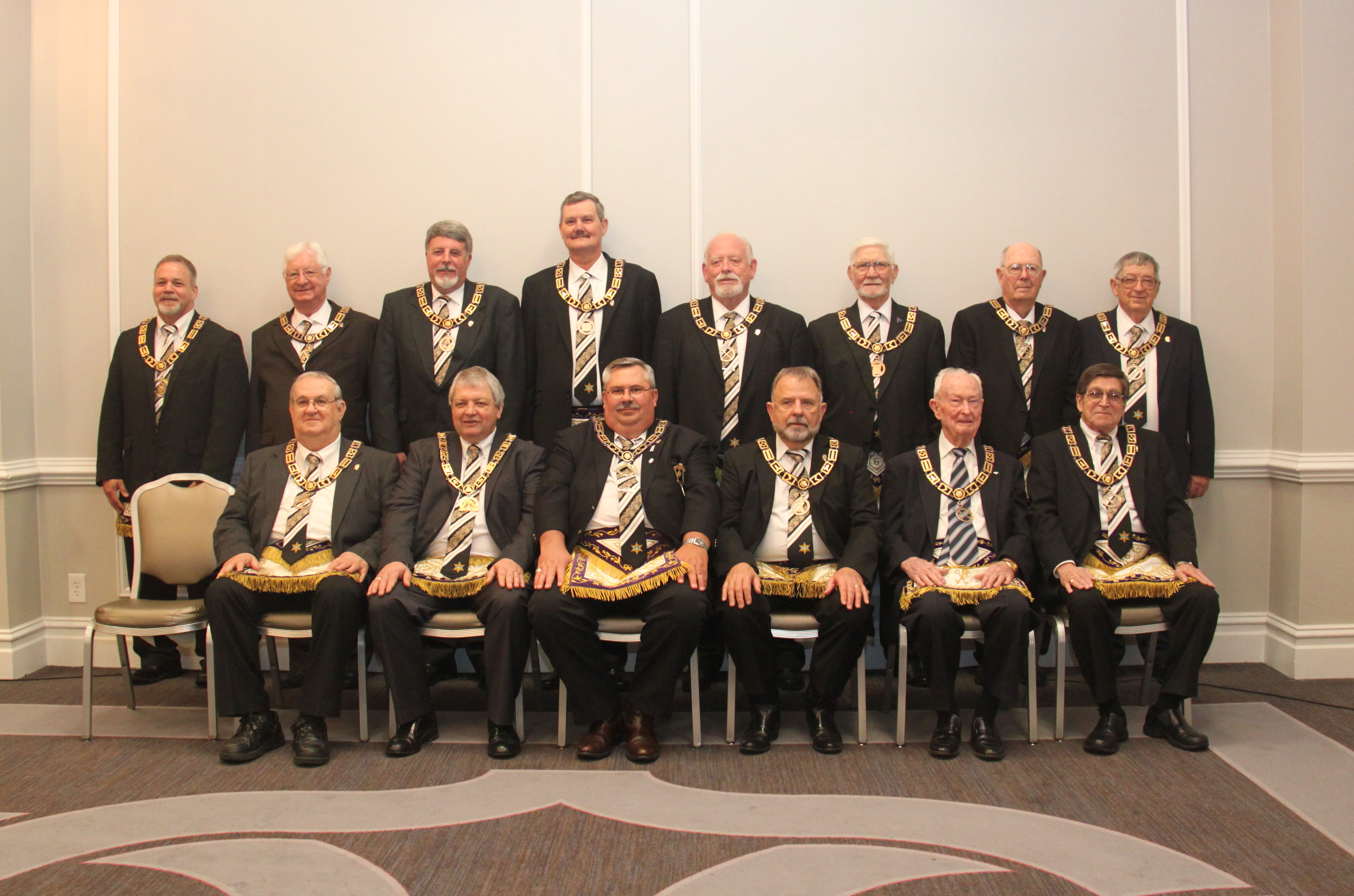 The Grand Lodge Officers for 2016. Click for a full-sized image.