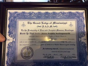 Brother JP Hollingsworths' 70 Year Certificate